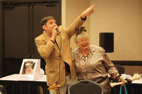 Charly Cummings and Carol Stricker enjoying the Auxiliary Scholarship Auction - Wild Things!