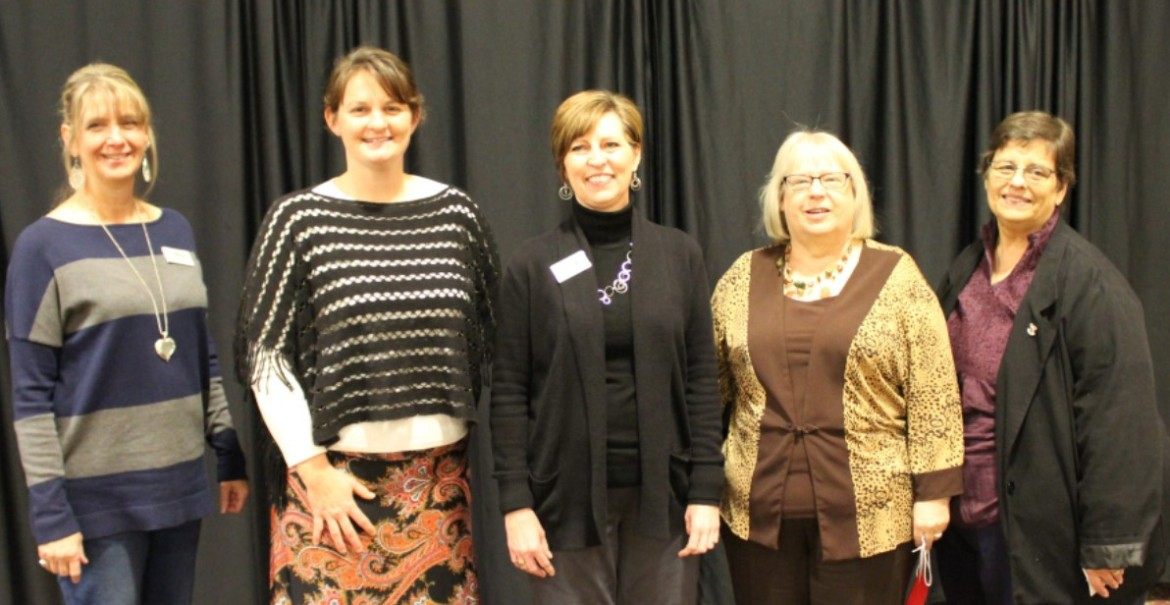 (L to R) Julie McLeod, Carrie Cummings, Cindy Haley, Terry Hamit, Carolyn Edgecomb.  Not pictured - Barb Griffin, Hope Edelman, Judy Hightree