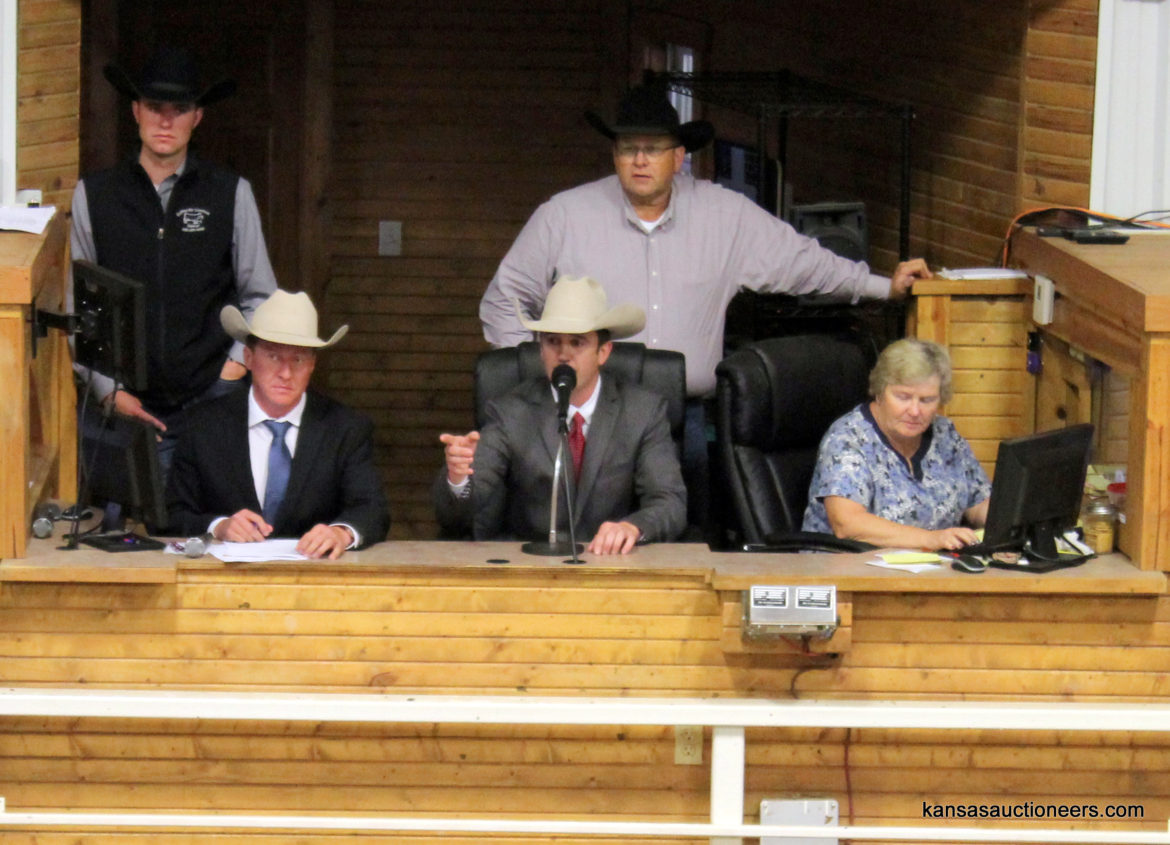 Ethan Schuette competing in the 2017 Kansas Livestock Auctioneer contest