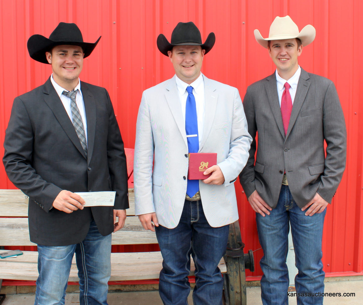 Jase Hubert - Reserve Champion, Neil Bouray - 2017 Kansas Livestock Auctioneer Champion, Ethan Schuette - 3rd Place